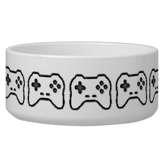Game Controller Black White 8bit Video Game Style Bowl