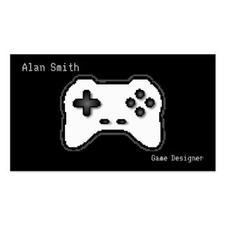 Game Controller Black White 8bit Video Game Style Business Card