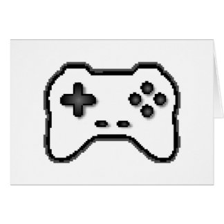 Game Controller Black White 8bit Video Game Style Greeting Card