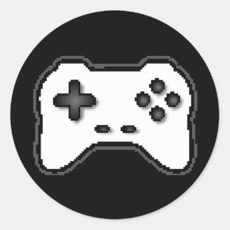 Game Controller Black White 8bit Video Game Style Classic Round Sticker