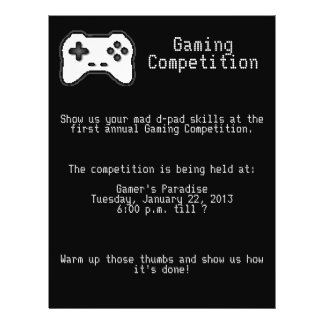 Game Controller Black White 8bit Video Game Style Flyer