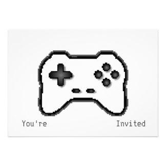 Game Controller Black White 8bit Video Game Style Custom Invitations