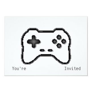 Game Controller Black White 8bit Video Game Style 5x7 Paper Invitation Card