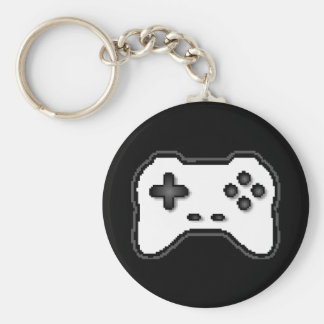 Game Controller Black White 8bit Video Game Style Key Chain
