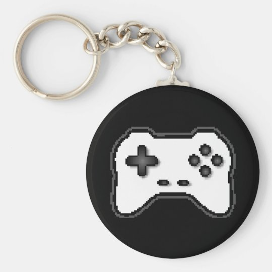 Game Controller Black White 8bit Video Game Style Keychain