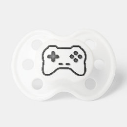 Game Controller Black White 8bit Video Game Style Pacifier