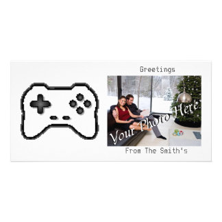 Game Controller Black White 8bit Video Game Style Photo Card