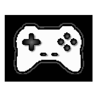Game Controller Black White 8bit Video Game Style Postcards