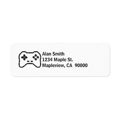 Game Controller Black White 8bit Video Game Style Return Address Label