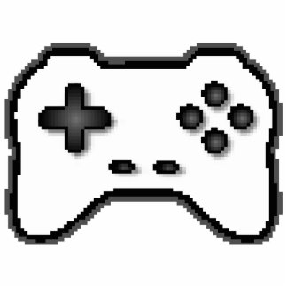 Game Controller Black White 8bit Video Game Style Statuette