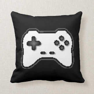 Game Controller Black White 8bit Video Game Style Throw Pillow