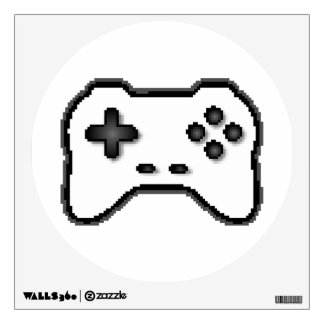 Game Controller Black White 8bit Video Game Style Wall Sticker