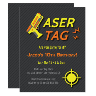 Game For Laser Tag Kids Birthday Party Invitations