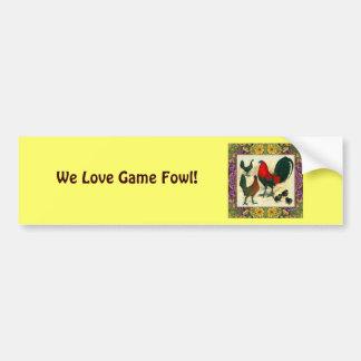 Game Fowl Flowered Frame Bumper Sticker