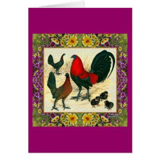 Game Fowl Flowered Frame Card