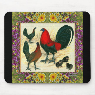 Game Fowl Flowered Frame Mouse Pad