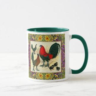 Game Fowl Flowered Frame Mug