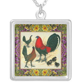 Game Fowl Flowered Frame Silver Plated Necklace