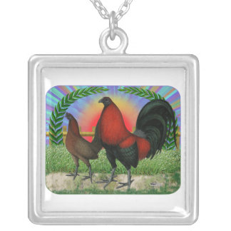 Game Fowl Wreath Silver Plated Necklace