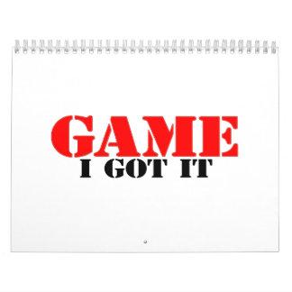 Game I Got It Calendar