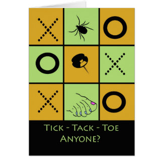 Game Night Party Invitation, Tic Tac Toe Humor Greeting Card