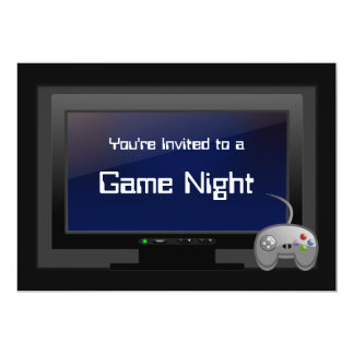 "Game Night, Plasma Video Gaming Party Invitation 5"" X 7"" Invitation Card"