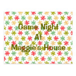 Game Night Puzzle Pieces Postcard