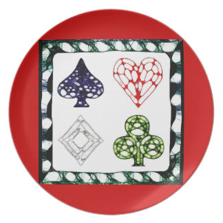 Game Night ~ Red Melamine Plate