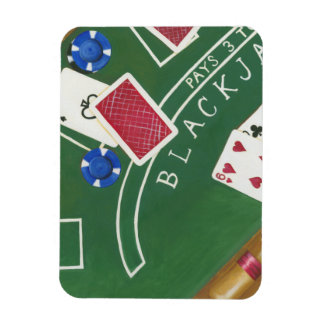 Game of Blackjack with Chips by Chariklia Zarris Rectangular Magnet