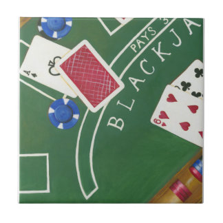 Game of Blackjack with Chips by Chariklia Zarris Ceramic Tiles