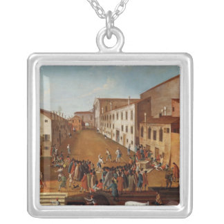 Game of Bowls in the Campo dei Gesuiti, Venice Silver Plated Necklace