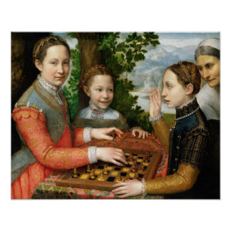 Game of Chess by Sofonisba Anguissola - Circa 1555 Poster