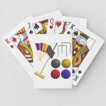 "Game Of Croquet Playing Cards<br><div class=""desc"">Like croquet then this design is for you. It has all the gear you need for a game of croquet. The balls, the mallet, the goal and the flags. A full croquet set. This game of croquet design looks great on these playing cards. Perfect for yourself or as a gift...</div>"