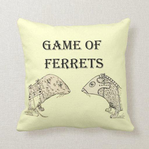 Game of Ferrets War Funny Internet Meme Throw Pillows
