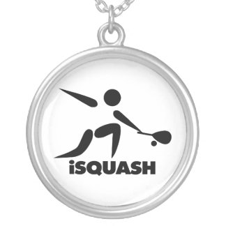 Game Of Squash iSquash Logo Silver Plated Necklace