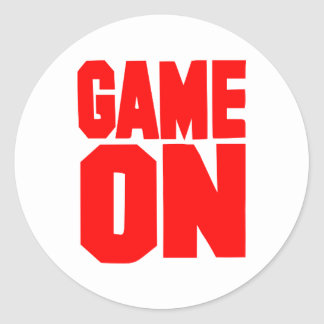 Game on classic round sticker