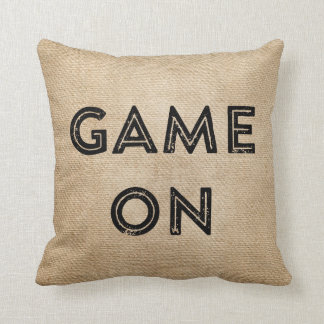 Game On Game Over Burlap Gamer Throw Pillow