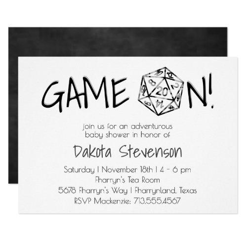 Game On  Silver D20 Dark Gray White Baby Shower Invitation