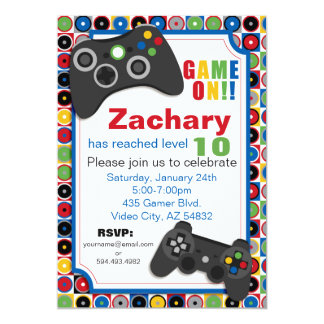 Game On! Video Game theme Birthday Party Invitatio Card