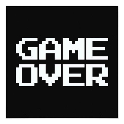 Game Over 5.25x5.25 Square Paper Invitation Card