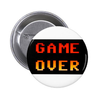 Game over 8bit retro pinback button