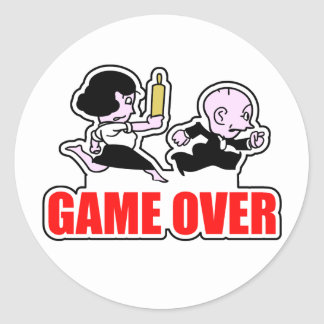 Game Over Angry Wife Classic Round Sticker