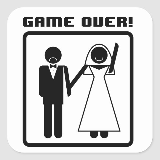 Game Over Bachelor Square Sticker