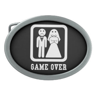 Game Over | Bachelor Stag Party Gift (Black/White) Belt Buckle