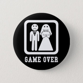 Game Over | Bachelor Stag Party Gift (Black/White) Button