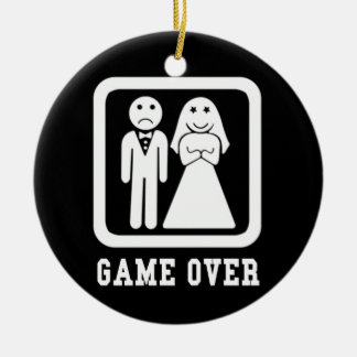 Game Over | Bachelor Stag Party Gift (Black/White) Ceramic Ornament
