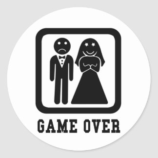 Game Over | Bachelor Stag Party Gift (Black/White) Classic Round Sticker