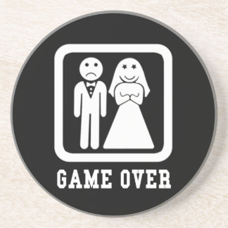 Game Over | Bachelor Stag Party Gift (Black/White) Drink Coaster