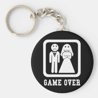 Game Over | Bachelor Stag Party Gift (Black/White) Keychain