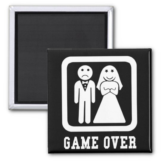 Game Over   Bachelor Stag Party Gift (Black/White) Magnet